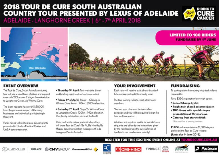 Click the image to download the Tour De Cure Country Ride SA Flyer